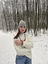 Sady šperkov - Lanový set - šedozelená a červená - 13005218_