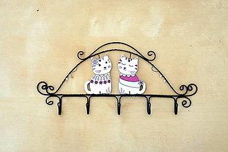Detské doplnky - vešiak - kocúr s mačkou - 13006634_