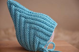 Detské čiapky - Pletená čiapka Retro, bavlna (0-3 mesiacov - Tyrkysová) - 13013019_