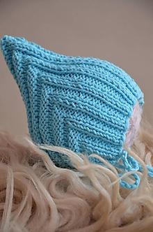 Detské čiapky - Pletená čiapka Retro, bavlna (batoľa 6 - 12 mesiacov - Tyrkysová) - 13013052_