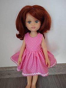 Hračky - Ružové bodkované šaty pre bábiku - 13013871_