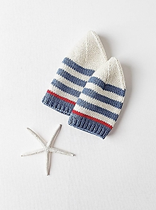 Detské čiapky - Pletená námornícka čiapka - 13012721_
