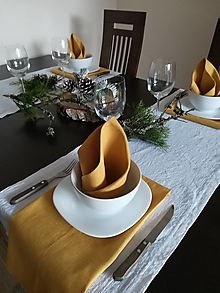 Úžitkový textil - Ľanové štóly / obrúsky - 13011615_