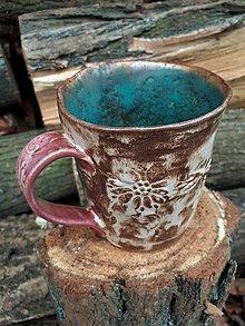 """Nádoby - hrnček na čaj """"Kakaové kvety"""" - 13014506_"""