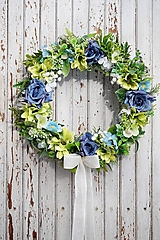 Dekorácie - Venček modro - zelený - 13013092_