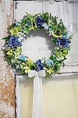 Dekorácie - Venček modro - zelený - 13013093_