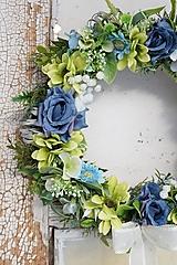 Dekorácie - Venček modro - zelený - 13013096_
