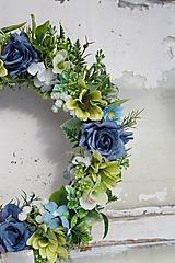 Dekorácie - Venček modro - zelený - 13013098_