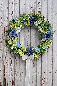 Dekorácie - Venček modro - zelený - 13013091_