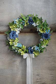 Dekorácie - Venček modro - zelený - 13013099_
