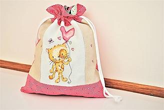 Úžitkový textil - Ružové vrecúško výšivka MAČKA - 13014126_