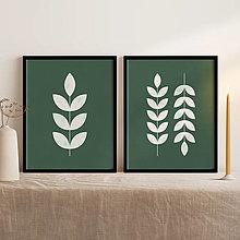 Grafika - Set 2 printov s botanickým motívom v zelenej farbe - 13011715_