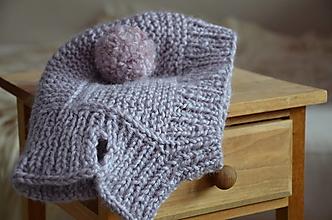 Detské čiapky - Detská čiapka - kukla (Fialová 12-24 mesiacov) - 13015768_