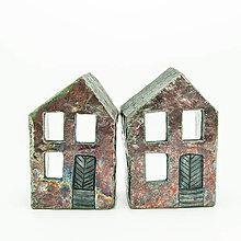 Svietidlá a sviečky - RAKU domček - svietnik - 13014633_