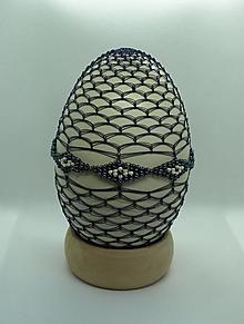 Dekorácie - Opletaná NANDU kraslica v modrom šate - 13017791_