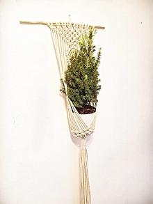 Dekorácie - makramé závesný kvetináč - 13017978_