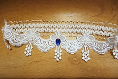 Bielizeň/Plavky - svadobný podväzok Ivory -  modrý kamienok - 13016706_