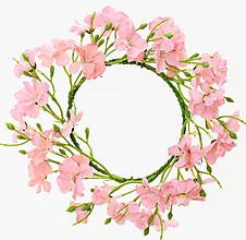Iný materiál - umelohmotný venček ružové kvietky 14cm - 13016956_