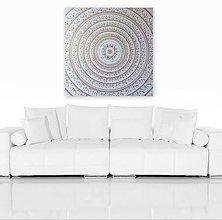 Obrazy - Mandala NOVÉ ZAČIATKY (white-gold) 80 x 80 - 13017824_
