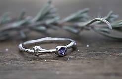 Prstene - Vetvičkový strieborný s tanzanitom - 13015455_