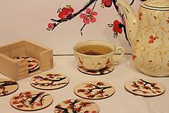 Sakura drevené podšálky darčekové balenie 10 ks