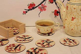 Pomôcky - Sakura drevené podšálky darčekové balenie 10 ks - 13014859_