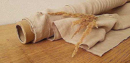 Textil - 100 % ľan predpraný, mäkčený prémiový európsky ľan - cena za 0,5m (piesková prírodná) - 13016281_