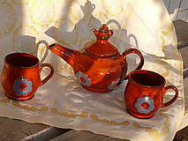Nádoby - Čajová súprava efekt červená - 13024215_