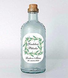 Papiernictvo - Nálepky na svadobné fľaše zelené lístky - 13020054_