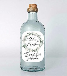 Papiernictvo - Nálepky na svadobné fľaše venček zelený - 13022100_