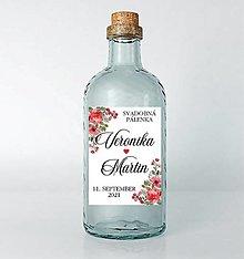 Papiernictvo - Nálepky na svadobné fľaše červené kvietky - 13022104_