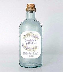 Papiernictvo - Nálepky na svadobné fľaše levandula - 13022168_