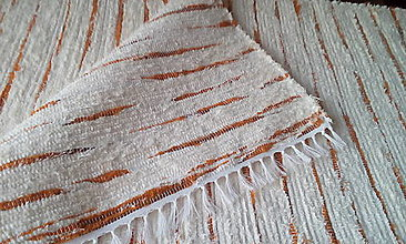 Úžitkový textil - Koberček s oranžovými pruhmi - 13020448_