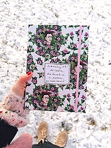 Papiernictvo - A5 zápisník Frida a veľké kvety (nápis na želanie) (S čistými listami bez linajok) - 13023918_