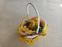 Dekorácie - Veľkonočný košíček s kuriatkami - 13020201_