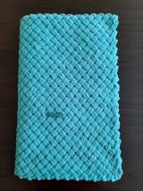 Textil - Detská deka z Alize puffy fine - krížový vzor (Tyrkysová) - 13020594_