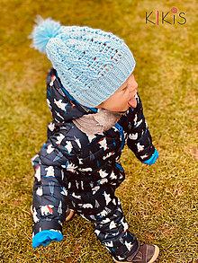 Detské čiapky - Jarná čiapka Matýsek (pre najmenších so šnúrkami) - 13023668_