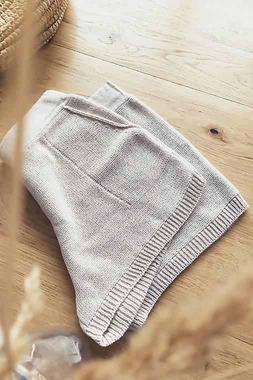 Nohavice - Pletené šortky NINA 70 % bavlna + 30 % ľan - 13023874_