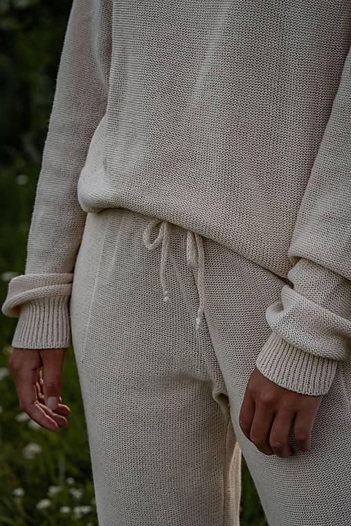 Nohavice - Pletené nohavice KATY - 70 % bavlna + 30 % ľan - 13023928_