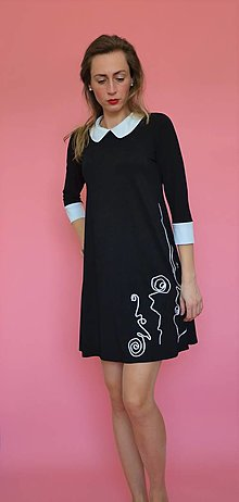 Šaty - Čierno-biele  šaty s golierikom - 13021385_