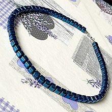 Šperky - Blue Hematite Men / Unisex Beaded Necklace / Pánsky alebo unisex náhrdelník hematit modrý galvanizovaný - 13026385_
