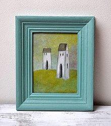 Obrazy - Maľovaný obraz-Dva domy - 13025586_