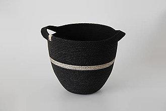 Košíky - Provazový košík černý - 13024954_