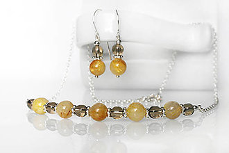Sady šperkov - simple set - sagenit & záhneda / Ag 925 - 13028986_