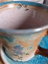 """Nádoby - šálka s podšálkou """"Modrá sakura"""" - 13026246_"""