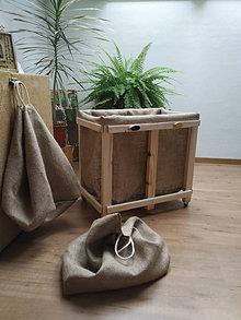 Nádoby - Drevený kôš na triedený odpad - 13027369_