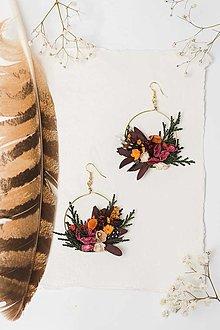 """Náušnice - Kvetinové kruhové náušnice """"lesná tôňa"""" - 13028907_"""