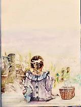 Obrazy - Dievčatko s košíkom - 13026216_