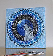 Obrazy - Mandala s vlkom - 13028108_