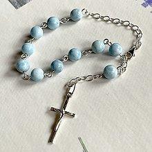 Náramky - Rosary AG925 Pectolite Bracelet / Strieborný ruženec na ruku alebo do auta s pektolitom Ag925 - 13032252_